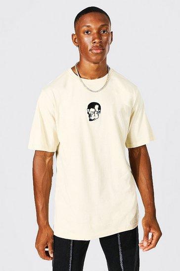 Sand beige Skull Embroidered T-shirt