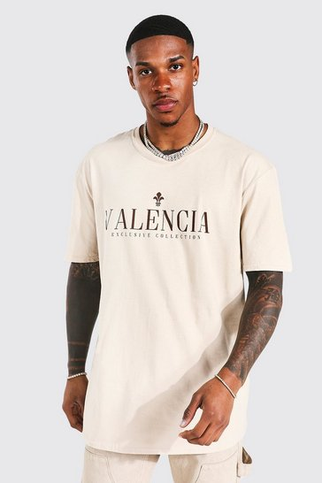 Sand beige Oversized Valencia Print T-shirt