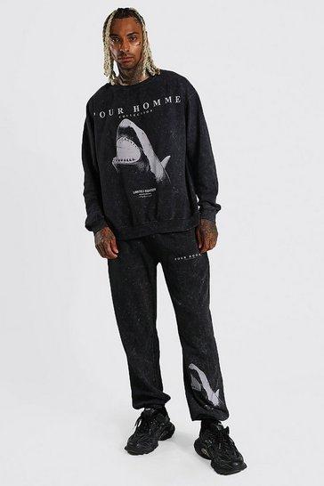 Black Shark Graphic Acid Wash Sweatshirt Tracksuit