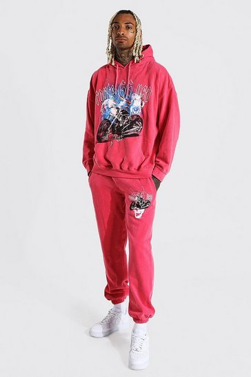 Red Graphic Overdye Hooded Tracksuit