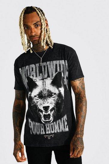 Black Oversized Wolf Graphic Acid Wash T-shirt