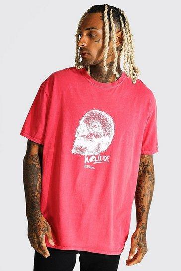 Red Oversized Skull Graphic Overdye T-shirt