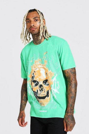 Green Oversized Skull Graphic Overdye T-shirt