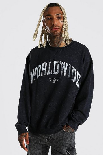 Black Oversized Worldwide Acid Wash Sweatshirt