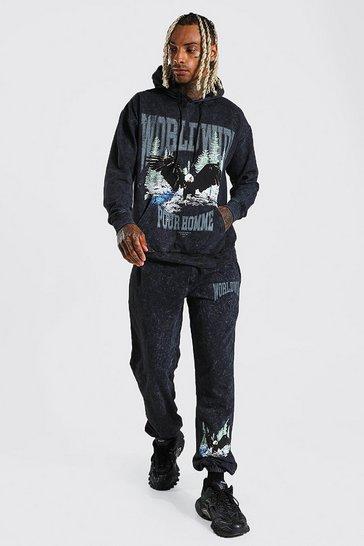 Black Worldwide Graphic Acid Wash Hooded Tracksuit