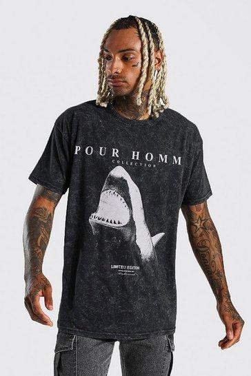 Black Oversized Shark Graphic Acid Wash T-shirt
