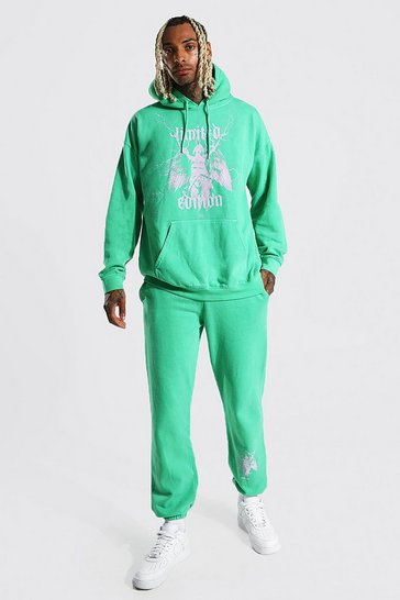 Green Statue Graphic Overdye Hooded Tracksuit