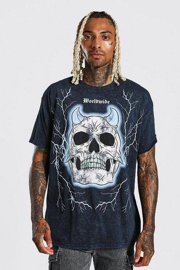 Black Oversized Skull Graphic Acid Wash T-shirt
