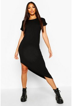 Black Asymmetric T-Shirt Midi Dress