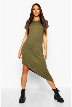 Khaki Asymmetric T-Shirt Midi Dress