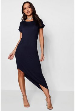 Navy Asymmetric T-Shirt Midi Dress