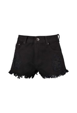 Black Low Waist Ripped Denim Hotpants
