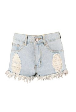 Pale blue Light Blue High Waist Ripped Denim Hotpants