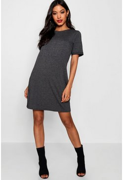 Charcoal Turn Back Cuff T-Shirt Dress