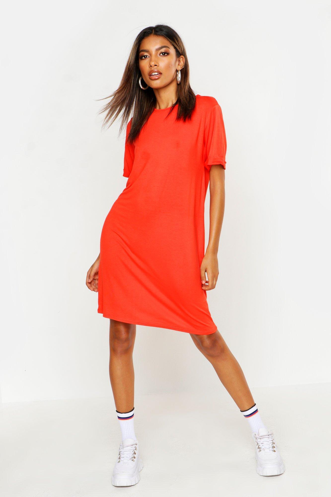 DRESSES Turn Back Cuff T-Shirt Dress