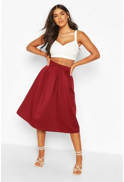 Berry Basic Box Pleat Midi Skirt