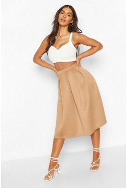 Camel beige Basic Box Pleat Midi Skirt