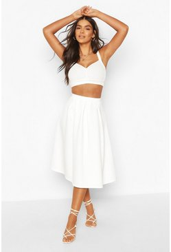 Ivory white Basic Box Pleat Midi Skirt