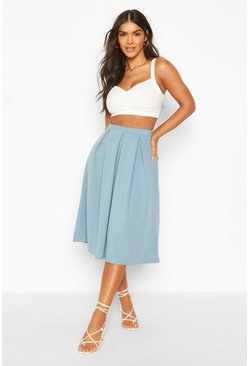 Petrol grey Basic Box Pleat Midi Skirt