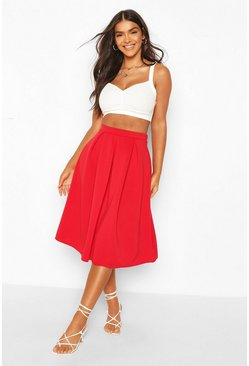 Red Basic Box Pleat Midi Skirt