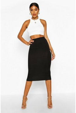 Black Basic Jersey Midi Skirt