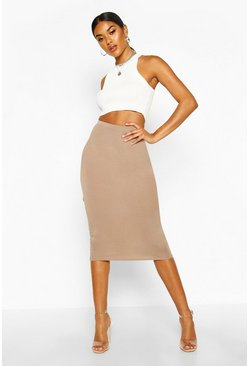 Taupe beige Basic Jersey Midi Skirt