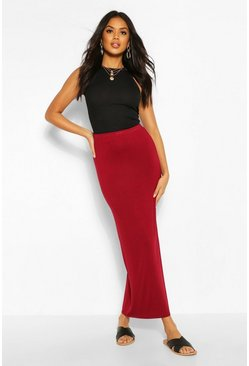 Berry red Basic Contrast Waist Jersey Maxi Skirt