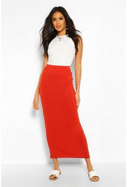 Roest orange Basic jersey maxi-rok met contrasterende taille