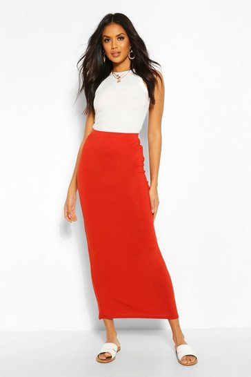 Rust orange Basic Contrast Waist Jersey Maxi Skirt