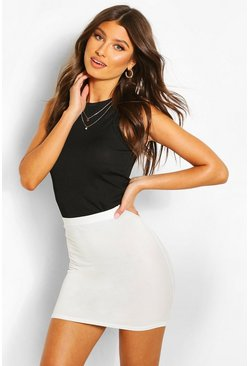 Ecru white Basic Jersey Mini Skirt