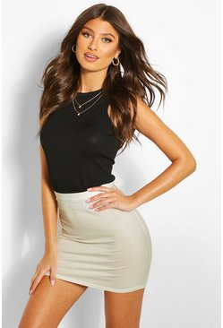 Chestnut brown Basic Jersey Mini Skirt