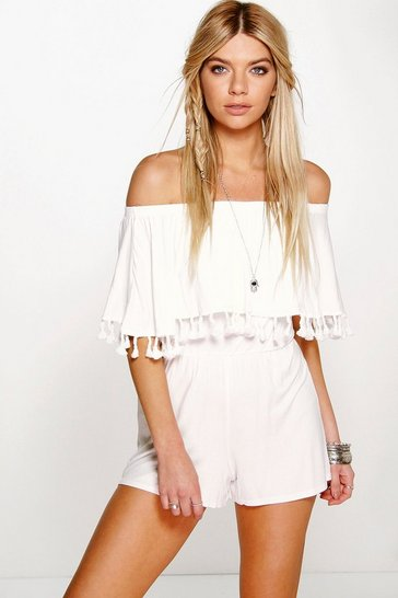 Ivory white Bardot Off The Shoulder Frill Jersey Playsuit