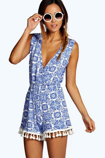 Blue Print Wrap Over Playsuit
