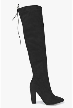 Black Thigh High Pointed Block Heel Boots