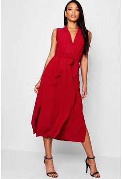 Wine red Sleeveless Belted Midi Shirt Dress