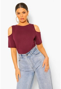Berry Basic Cold Shoulder Curved Hem T-Shirt