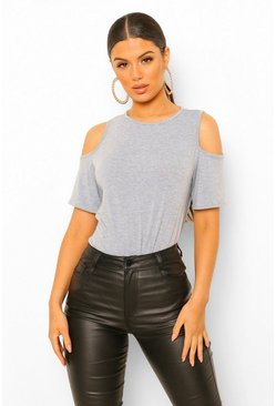 Grey marl grey Basic Cold Shoulder Curved Hem T-Shirt