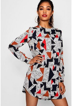 Multi Geo Print Long Sleeve Shift Dress
