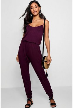 Berry red Basic Cami Jumpsuit