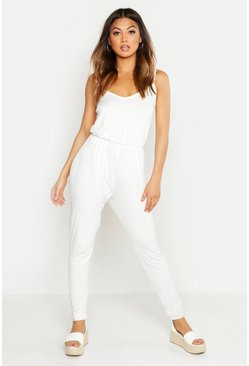 Ivory white Basic Cami Jumpsuit