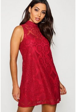 Berry red Lace High Neck Shift Dress