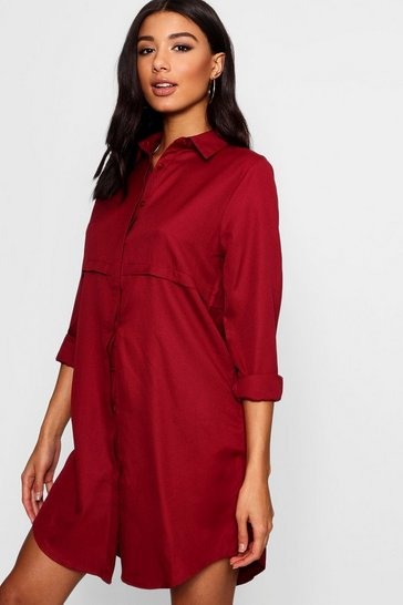 Berry red Double Placket Woven Shirt Dress