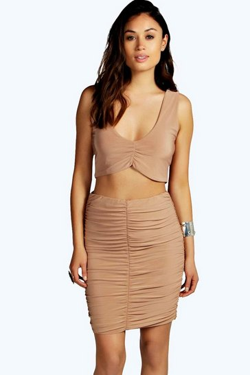 Camel beige Abrielle Plunge Crop Midi Skirt Co Ord