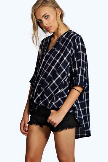 Blue Darcy Grid Check Wrap Front 3/4 Sleeve Blouse