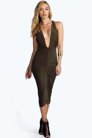 Khaki Aby Slinky Plunge Neck Midi Bodycon Dress