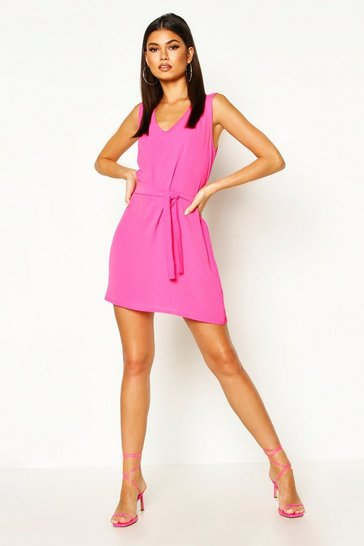 Fuchsia pink Tie Waist Shift Dress