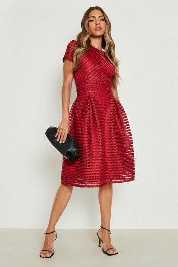 Berry red Boutique Full Skirted Prom Midi Dress