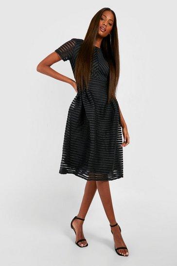Black Boutique Full Skirted Prom Midi Dress