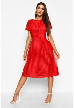 Red Boutique Full Skirted Prom Midi Dress