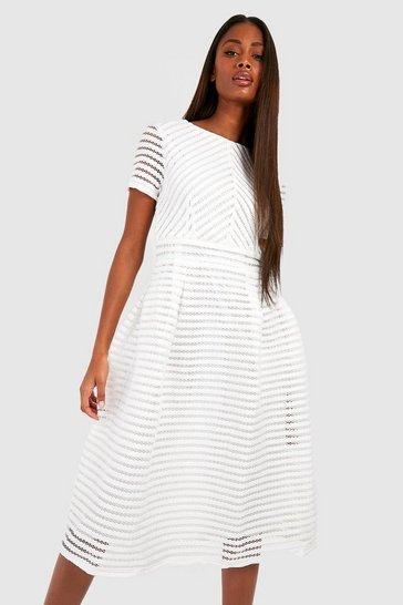 White Boutique Full Skirted Prom Midi Dress
